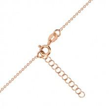 Stříbrný náhrdelník 925, růžovozlatý odstín - symetrické srdce, Polárka, černý diamant