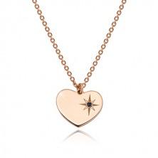 Stříbrný 925 set růžovozlaté barvy - náramek a náhrdelník, srdce s Polárkou a diamantem