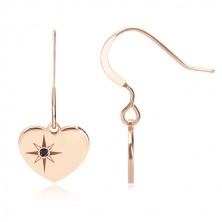 Stříbrné 925 náušnice, růžovozlatý odstín - souměrné srdce, severní hvězda, černý diamant