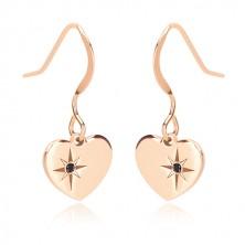 Sada růžovozlaté barvy, stříbro 925 - náušnice a náhrdelník, srdce s Polárkou a diamant