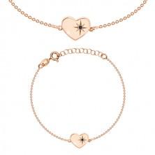 Stříbrný 925 náramek růžovozlaté barvy - lesklé srdce, severní hvězda, černý diamant