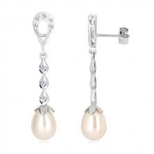 Náušnice z bílého 9K zlata - kontura slzy, tři kapky se zirkony, bílá perla
