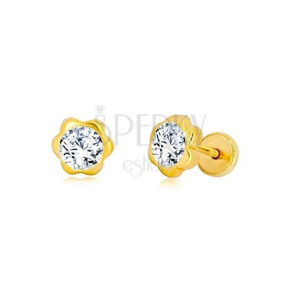 Náušnice ze žlutého zlata 585 - květ, blýskavý zirkonový střed, puzetky se závitem