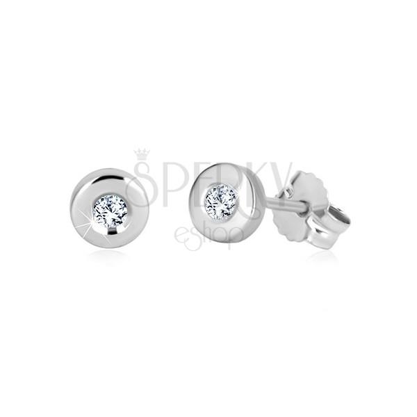 Puzetové náušnice z bílého zlata 375 - zrcadlově lesklý kruh, čirý zirkon, 5 mm