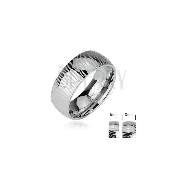 Ocelový prsten - vzor zebra