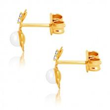 Náušnice ze žlutého zlata 375 - obrys květu s perličkou, motýlek se zirkony