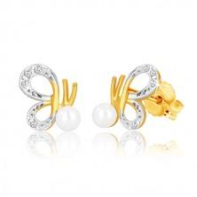 Náušnice v kombinovaném zlatě 375 - motýl s vyřezávanými křídly a perlou