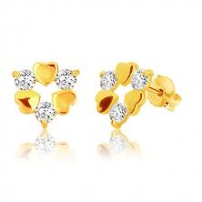 Náušnice ve žlutém 9K zlatě - tři symetrická srdíčka a tři třpytivé zirkony