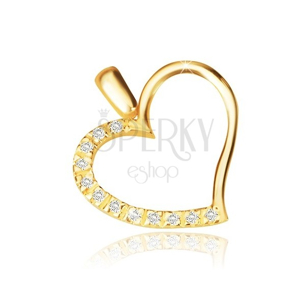 Přívěsek ve žlutém 14K zlatě - obrys nesouměrného srdce, blýskavá zirkonová polovina
