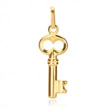 Přívěsek ze žlutého zlata 585 - lesklý klíč se starožitným vzhledem
