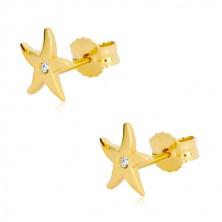 Náušnice ze žlutého zlata 375 - mořská hvězdice, čirý kulatý zirkon, puzetky