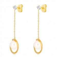 Náušnice v 9K žlutém zlatě - přerušený prstenec s perlou na řetízku, transparentní zirkon