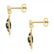 Náušnice ze žlutého zlata 375 - čirý zirkon, zirkonové zrnko černé barvy, třpytivý lem