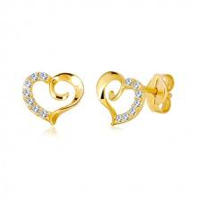 Puzetové náušnice ze žlutého 9K zlata - obrys srdce se spirálou a zirkonovou polovinou