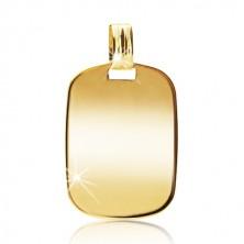 Přívěsek ze 14K žlutého zlata - zrcadlově lesklý obdélník se zaoblenými hranami