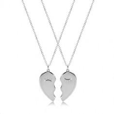 Set ze stříbra 925 - dva náhrdelníky, rozpůlené srdíčko se zamhouřenýma očima