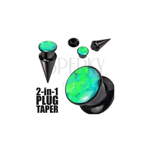 Expander a plug v černém barevném odstínu - černý a zelený šroubek
