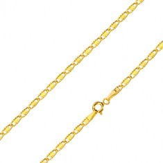 Řetízek ve 14K žlutém zlatě - oválná očka se zářezy a hladkým obdélníkem, 500 mm