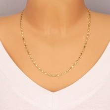 Zlatý 14K řetízek - oválná očka, podlouhlá očka s obdélníkem, 550 mm