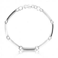 Náramek ze stříbra 925 - úzké zrcadlově lesklé články spojené kroužky