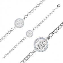 Stříbrný náramek 925 - kruh s ozdobně vyřezávaným květem a zirkony