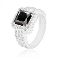 Stříbrný prsten 925 - černý zirkonový čtverec, čirý zirkonový lem a ramena