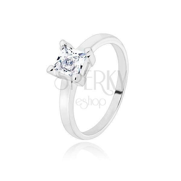 Stříbrný 925 prsten - úzká ramena, transparentní zirkonový čtverec, 5 mm