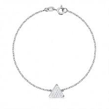 Trojdílná sada, stříbro 925 - rovnostranný trojúhelník se zirkony, řetízek