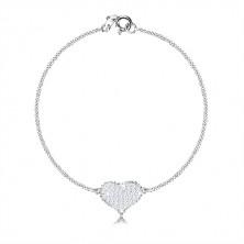 Stříbrný 925 trojset - souměrné srdce se zirkony, sériově napojovaný řetízek