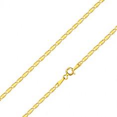 Řetízek ze žlutého zlata 585 - oválná očka se zářezy a hladkým obdélníkem, 450 mm