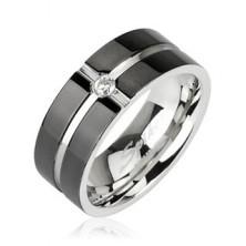 Ocelový prsten - vzor kříž, zirkon uprostřed