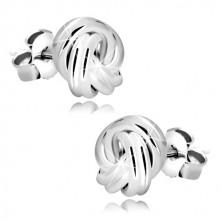 Stříbrné náušnice 925 - lesklý uzel, čtyři dvojice hladkých prstenců, puzetky