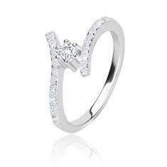 Stříbrný prsten 925 - blýskavá zahnutá ramena, čirý kulatý zirkon v kotlíku