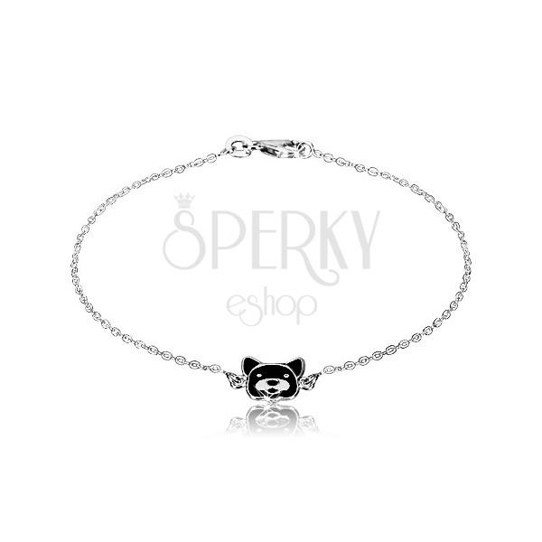 Stříbrný náramek 925 - lesklý řetízek, psík zdobený černou glazurou, karabinka