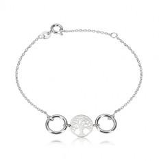 Náramek ze stříbra 925 - vyřezávaný kruh se stromem života, dva lesklé kroužky