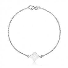 Náramek ze stříbra 925 - čtyřcípá hvězda s bílou glazurou, geometrický motiv