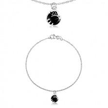 Stříbrný náramek 925 - kočička v klubku, černá glazura, lesklý řetízek