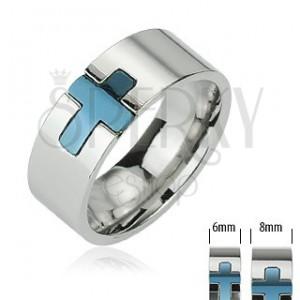 Ocelový prsten - modrý kříž