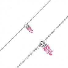 Stříbrný náramek 925 - medvídek zdobený růžovou glazurou, lesklý řetízek