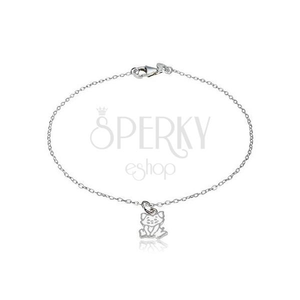 Stříbrný náramek 925 - přívěsek s motivem kočky, lesklá oválná očka
