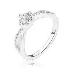 Zásnubní prsten, stříbro 925, zvlněná propletená ramena, čirý zirkon