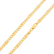 Zlatý řetízek 585 - tři oválná očka, článek s řeckým klíčem, 600 mm