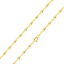 Řetízek ze žlutého zlata 585 - lesklá očka oválného tvaru, spirála, 420 mm