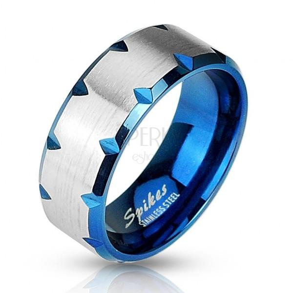 Ocelový prsten modrý - zářezy po okraji