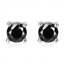Stříbrné náušnice 925 - černý kulatý zirkon v kotlíku, obdélníkový výřez, puzetka
