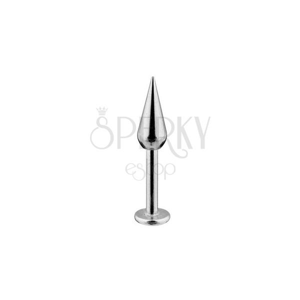 Labret z nerezavějící oceli - jednoduchý hladký kužel, tloušťka 1,6 mm