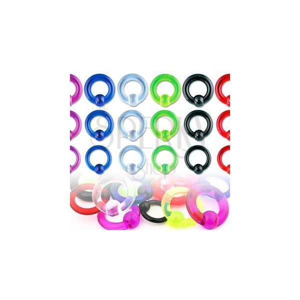 Akrylový UV piercing - kroužek s kuličkou s hladkým povrchem