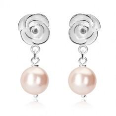 Stříbrné náušnice 925 - bílá růže, kulatá očka, světle růžová kulička
