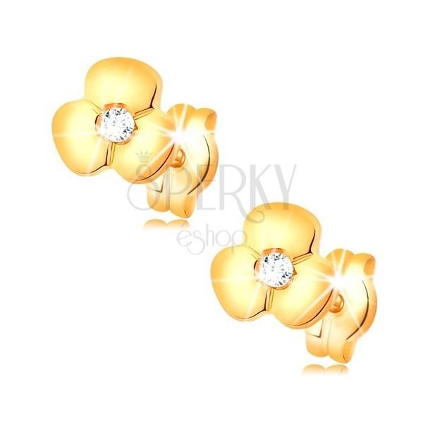 Zlaté náušnice 585 - lesklý kvítek s čirým zirkonem uprostřed, puzetky