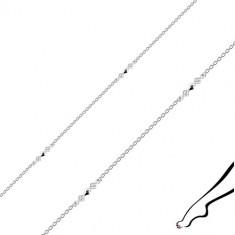 Náramek na nohu ze stříbra 925 - spojené kosočtverce, čiré zirkony, oválná očka